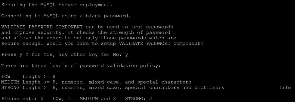 Выбор уровня валидации пароля