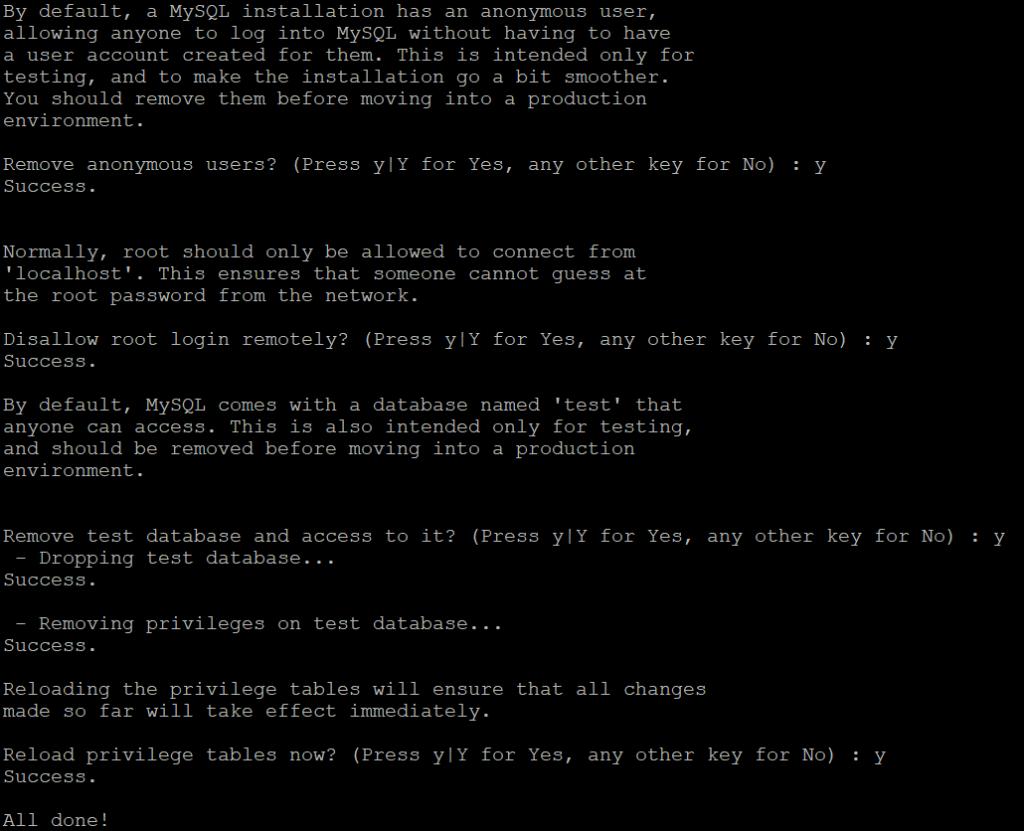Настройка безопасности MySQL
