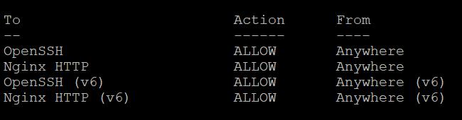 sudo ufw status при настройке Nginx на Ubuntu 20.04