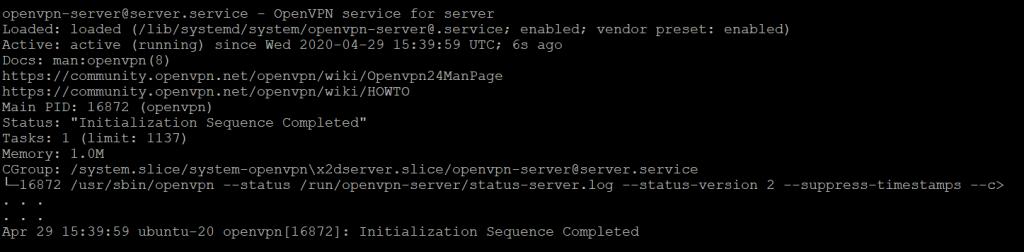 Запуск службы OpenVPN