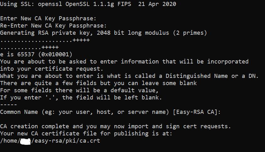 Результат работы скрипта easyrsa при настройке OpenVPN на CentOS Stream