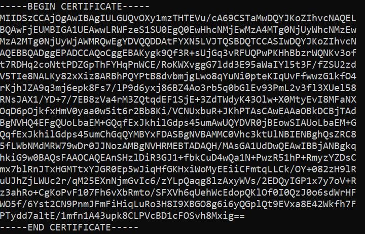 Содержимое ca.crt при настройке OpenVPN на CentOS Stream