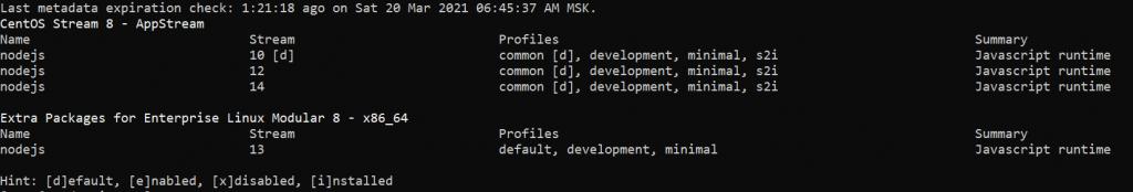 Список доступных версий node.js - как установить Node.js на CentOS Stream