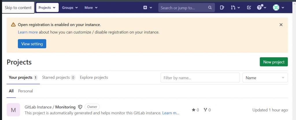 Стартовая страница на GitLab