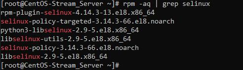 Инсталлированные пакеты SELinux