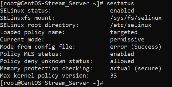 Проверка статуса SELinux