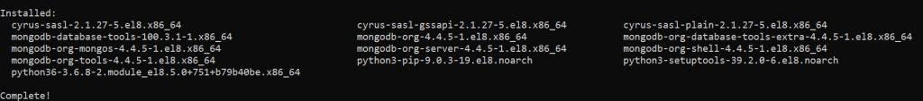 Завершение инсталляцию пакета MongoDB