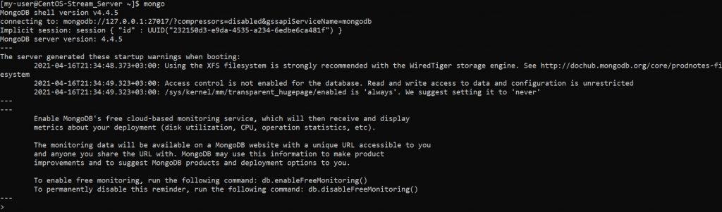 Запуск оболочки MongoDB