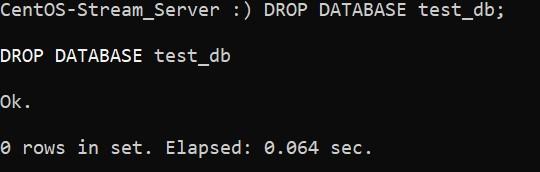 Удаление базы данных