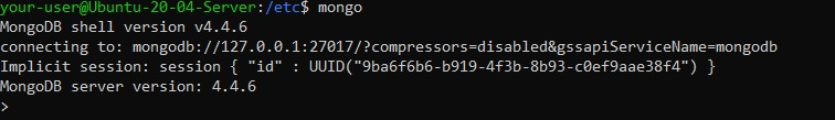 Подключение к оболочке MongoDB