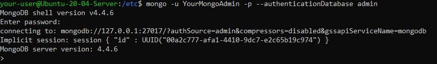 Подключение к оболочке MongoDB - настройка безопасности MongoDB в Ubuntu 20.04