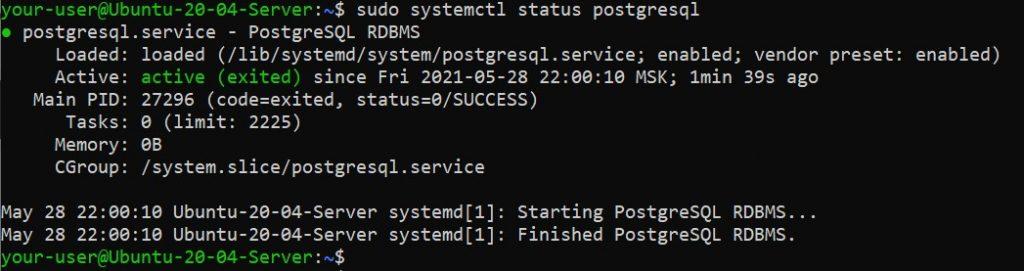 Проверка статуса PostgreSQL - как установить PostgreSQL и pgAdmin4 в Ubuntu 20.04