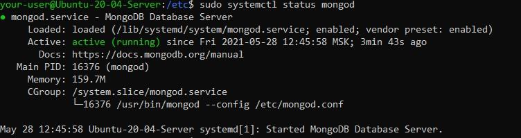Статус демона MongoDB - настройка безопасности MongoDB в Ubuntu 20.04