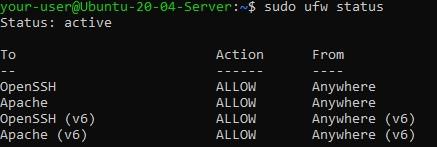 Статус UFW - Настройка Seafile для синхронизации и общего доступа к файлам в Ubuntu 20.04