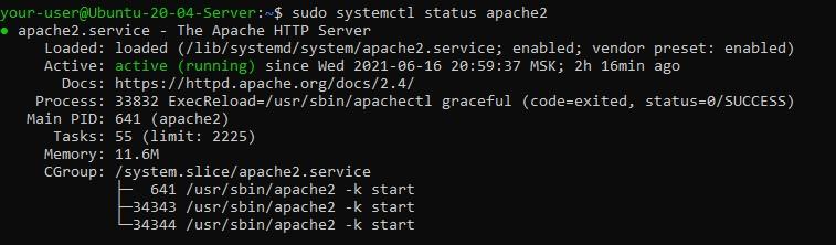 Статус службы Apache - Настройка Seafile для синхронизации и общего доступа к файлам в Ubuntu 20.04