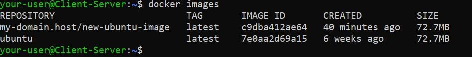 Список образов - Как развернуть свое Docker хранилище в Ubuntu 20.04