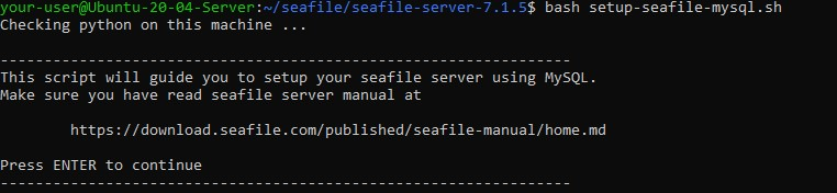 Запуск скрипта setup_seafile_mysql.sh