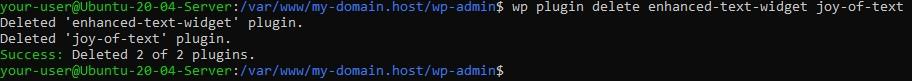 Удаление плагинов- Использование WP-CLI v2 для управления WordPress из консоли